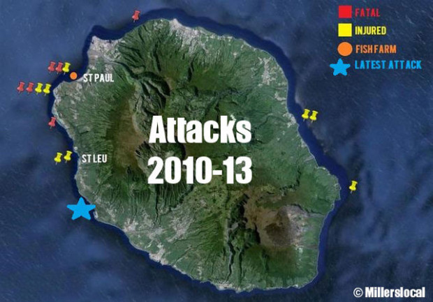 Showing all shark attacks since 2010 with the latest attack on the body boarder on Oct. 27th, 2013 as blue star.