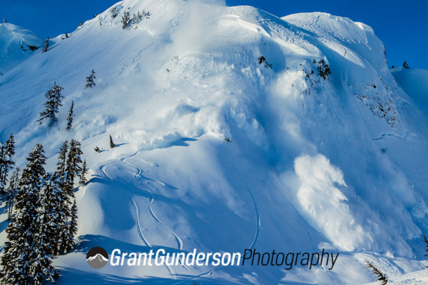 Heli avalanche control at Mt. Baker, WA.  photo:  grant gunderson