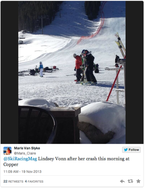 Tweet from today showing Lindsey Vonn being helped off the course after her crash.