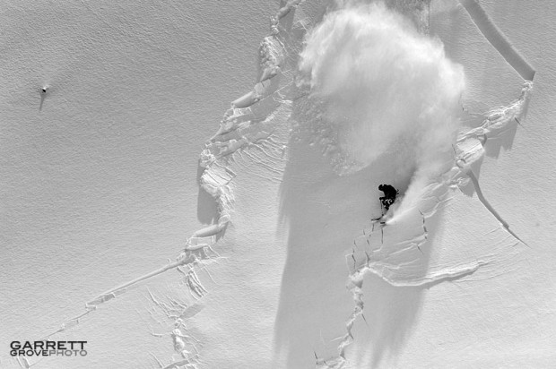 Skier triggering avalanche.  photo:  garret grove