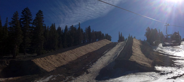 The halfpipe is not quite ready to go...but they did just recently build the dirt walls higher to make it that much easier to get it going