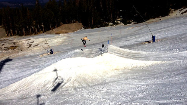 Sending it off the one jump offering at Mammoth