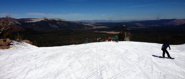 About to drop into ADG, looking out into the valley at Mammoth