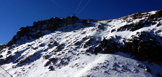 Still in need of a bit more snow...looking up to the top of the Gondola at Mammoth