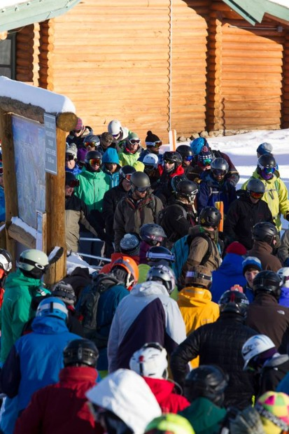 People were lined up early to get a piece of the goods. Photo: Grand Targhee Resort