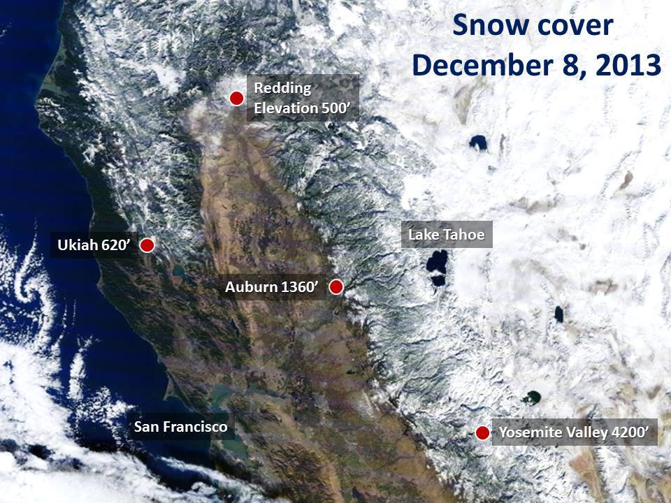 Satellite Image Of Californias Current Snow Cover SnowBrains - Current satellite