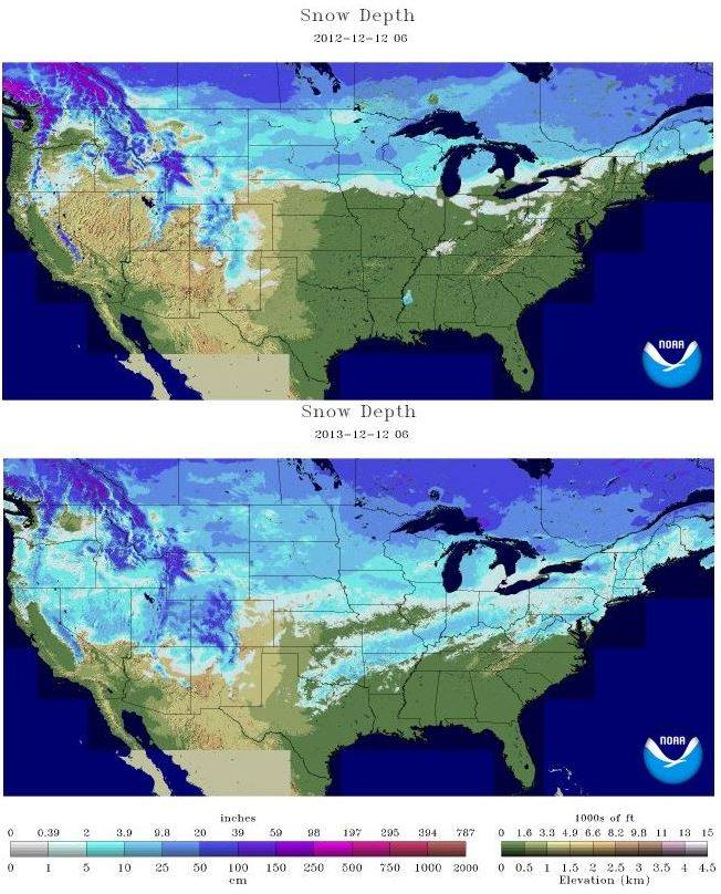 Us Snow Cover Depth Right Now Vs Last Year Snowbrains: Map Of Snow Cover In North America At Usa Maps
