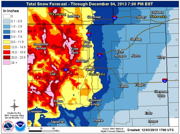 Colorado snow forecast showing