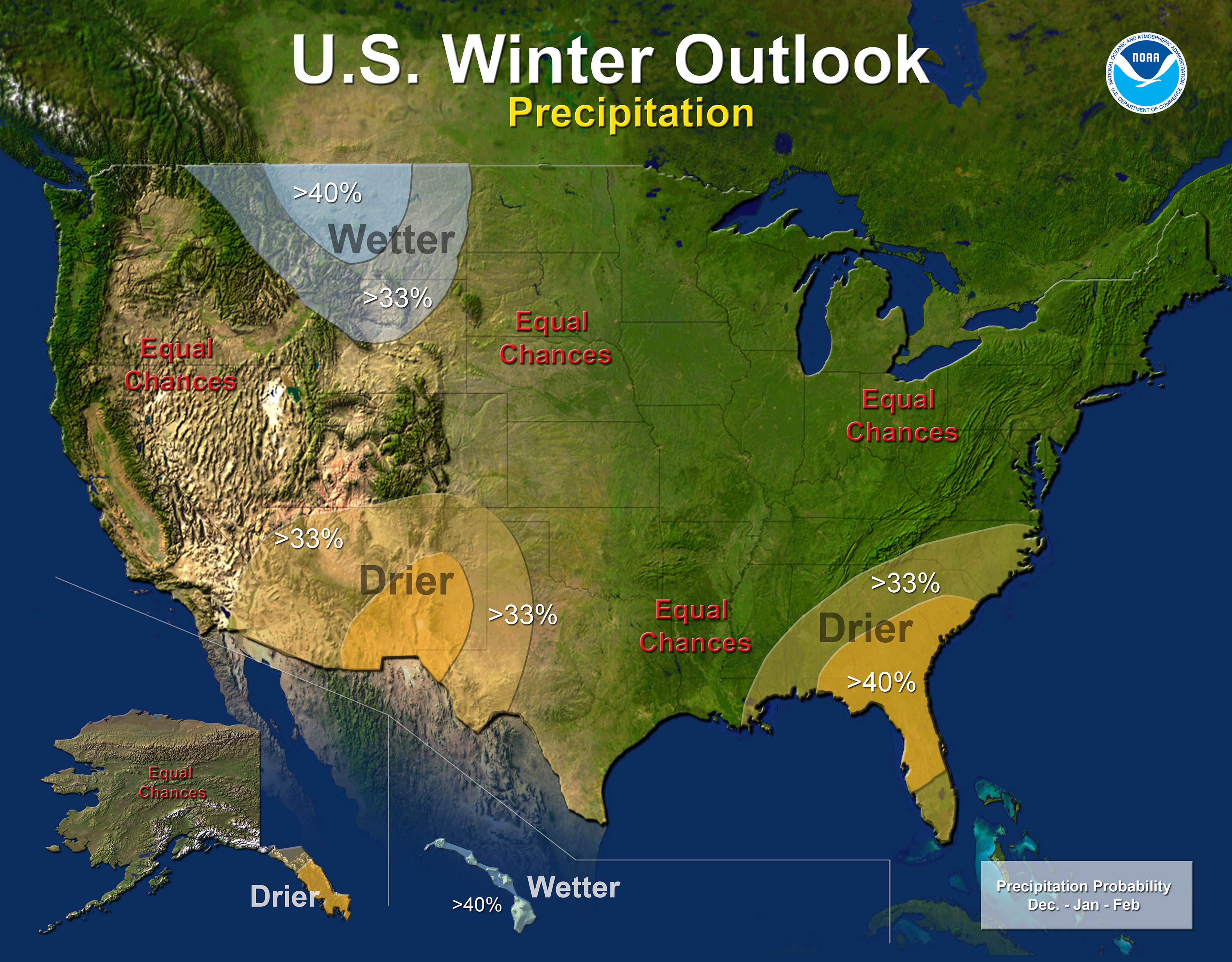 US Winter Outlook by National Weather Service SnowBrains