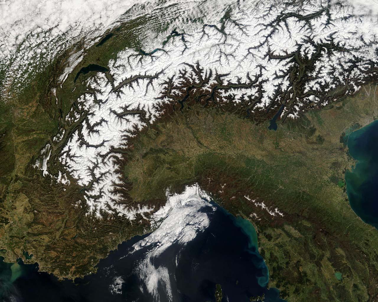 alps from space