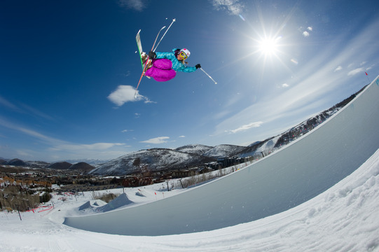 Author Jen Hudak going big in the pipe at Park City, UT.