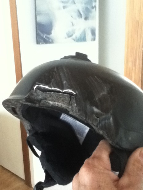 My busted helmet after hitting the rock wall.