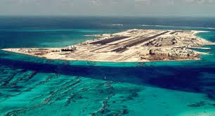 Sky view of Atoll and barrels of Agent Orange