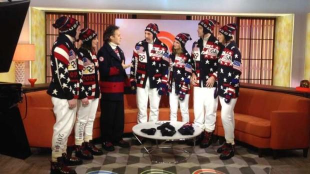 USA uniforms modeled by:  figure skater Evan Lysacek, hockey player Julie Chu, ice dancers Charlie White and Meryl Davis, and freestyle skiers Hannah Kearney and Alex Schlopy.