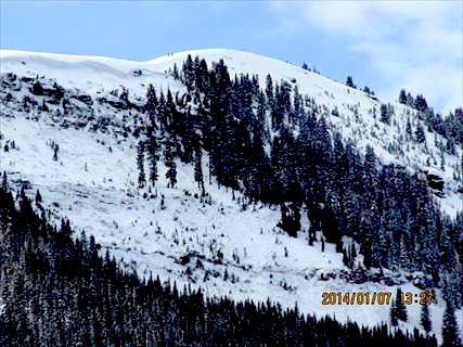 Image of the avalanche that killed one today in the East Vail Chutes, CO.  You can see how large the crown is up top.  This was a large avalanche.