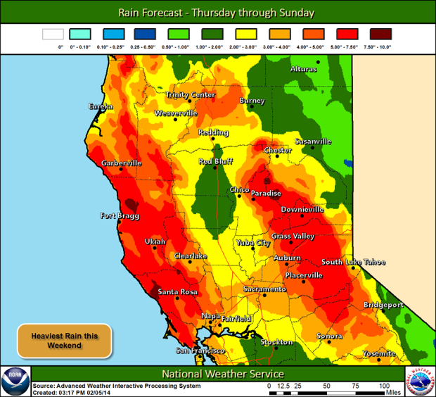 """4-8"""" of liquid forecasted by Monday in the Sierra."""