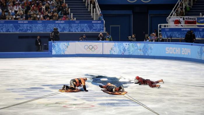 ice skater falls through ice