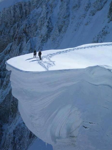 large snow cornice