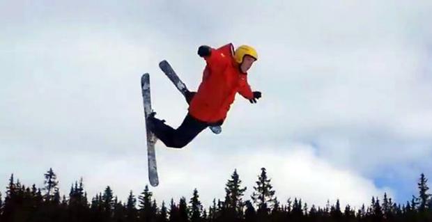 Norwegian skier flailing a flip in a hilarious crash