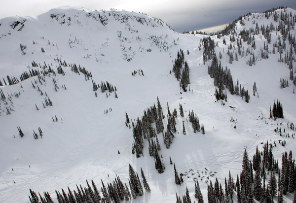 Avalanche debris on Boulder Mountain, B.C. in March, 2010.