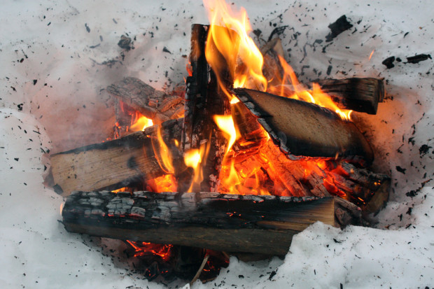 Fire on snow.