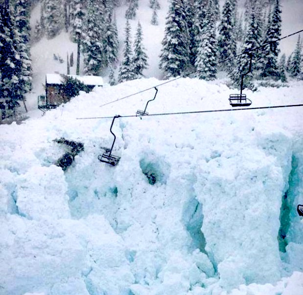chairlift destroyed by avalanche