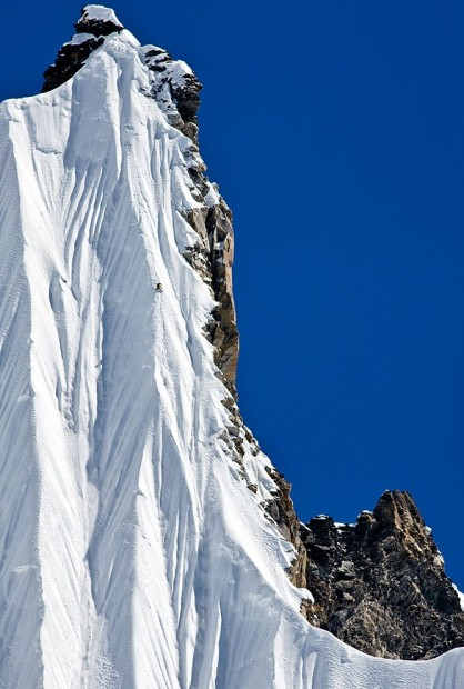 Jeremy Jones riding quite possibly the steepest spine ever ridden on a snowboard