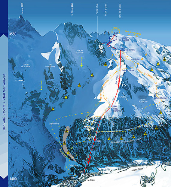 """trail"" map.  Good luck.  La Grave, France"