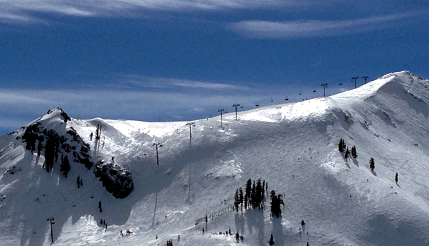 Looking toward top of Headwall from Tower 16 at Squaw