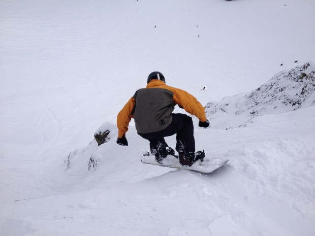 A bro dropping into Extra Chute.  Palisades.  Squaw
