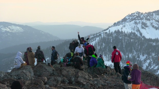 Happy people on top of Alpine