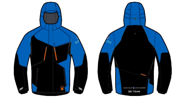 "Alpine Meadows ski team jackets only have the new Squaw logo on them in the small of the back with ""Squaw Valley"" written to the left of the logo and ""Alpine Meadows"" written to the right of the logo."