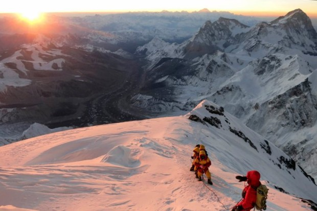 Climbers make their way to the summit of Mount Everest in May, 2013. Photo: AP Photo/Alpenglow Expeditions, Adrian Ballinger