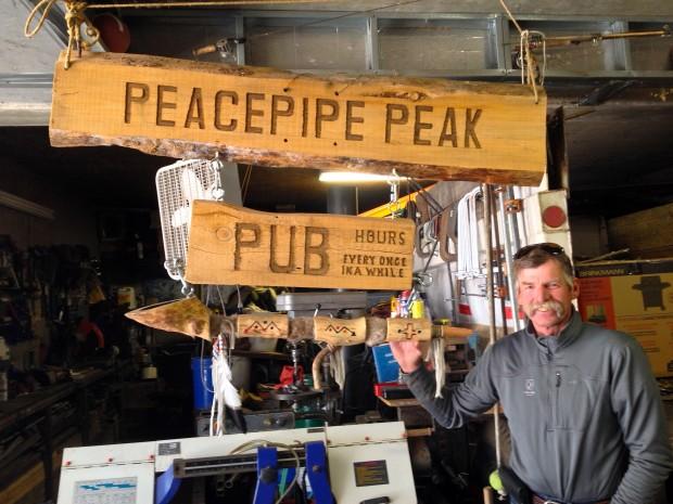 Peacepipe Peak Pub sign.  Troy named the peak on White Wolf Peacepipe Peak.