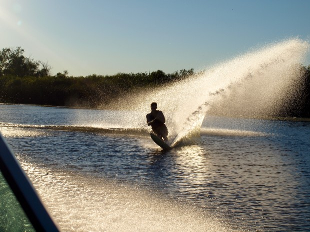 Perfect conditions for water skiing in the delta today