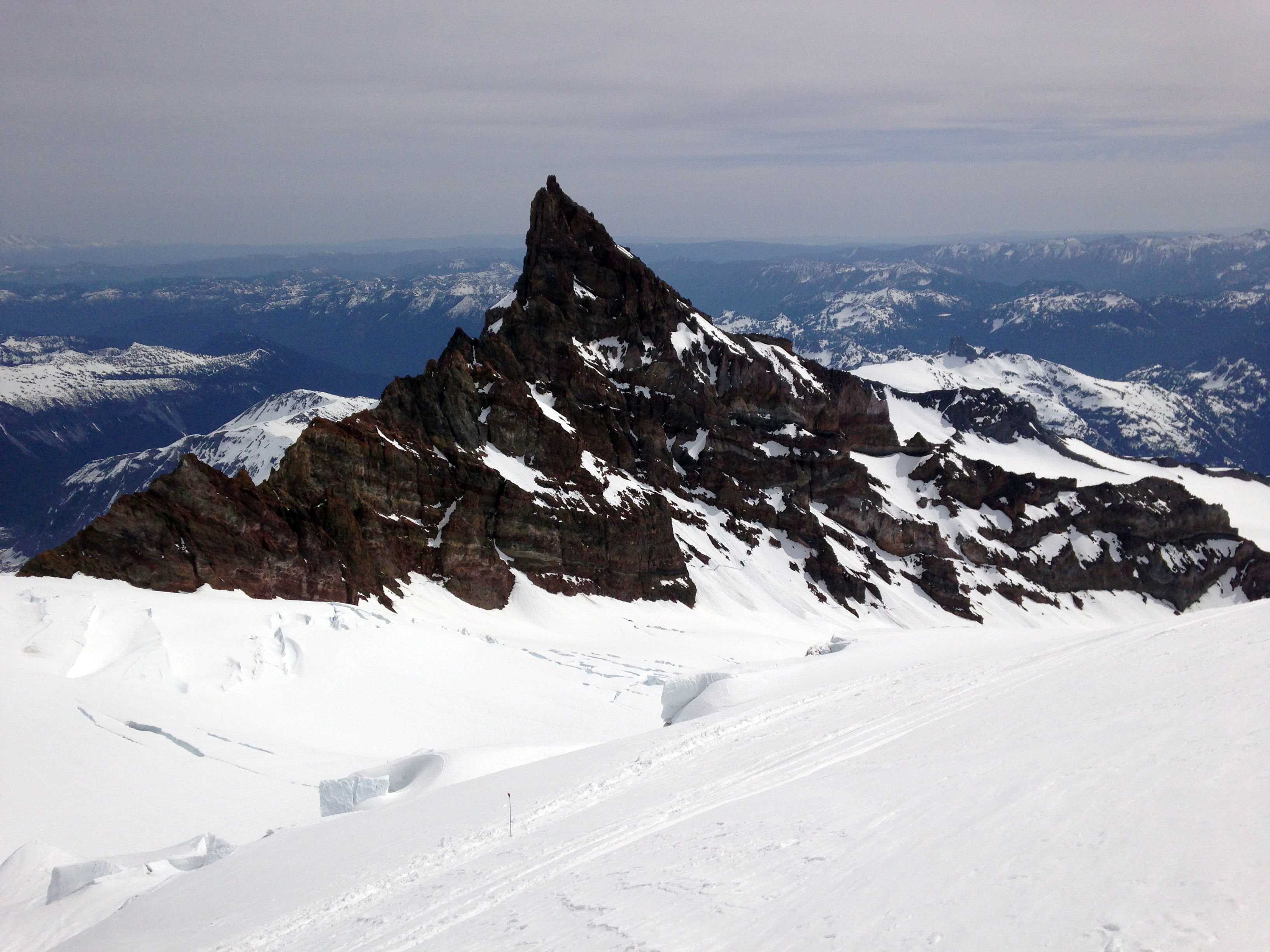 Skiing down past Little Tahoma above the Ingraham Glacier.