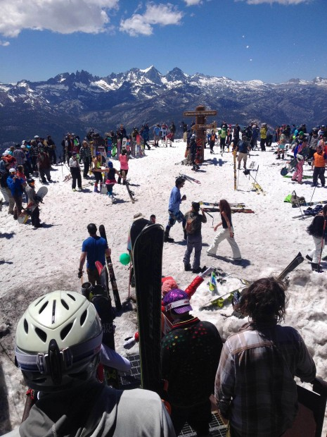 Party snowball fight at the top of Mammoth today
