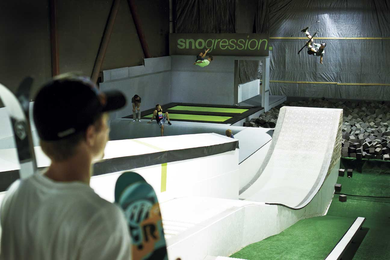 Sending it into the foam pit at Snogression - no roller skis required!