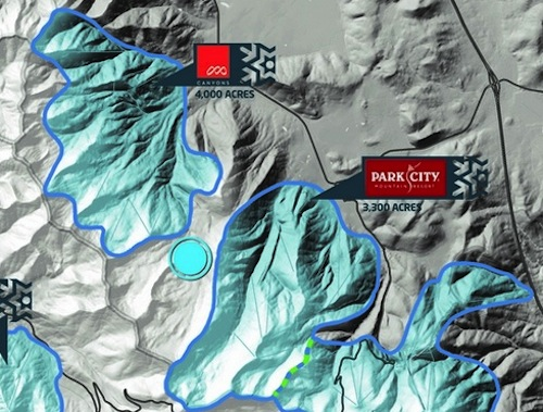 Map showing how close together Park City and The Canyons ski resorts really are.  They'd be easy to connect.