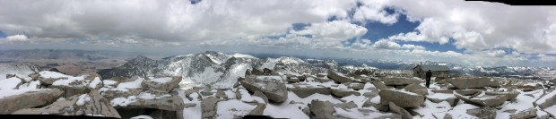 Mt. Whitney Summit conditions after the late May storm.  photo:  sierra mountain guides