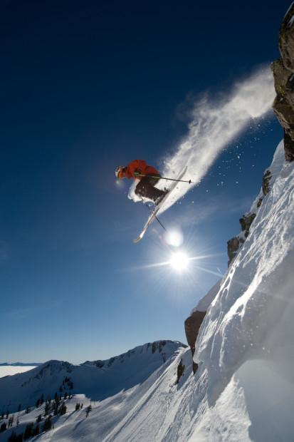 A Squaw skier feelin' the participation.  photo:  Hank de Vre