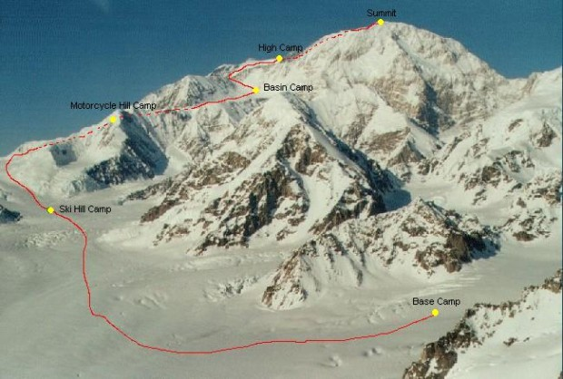 Western Buttress route that Kilian took for his speed ascent/descent