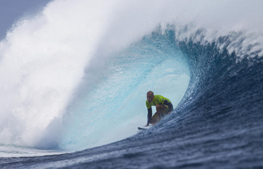 Kelly Slater taking it at the fiji pro surf comp