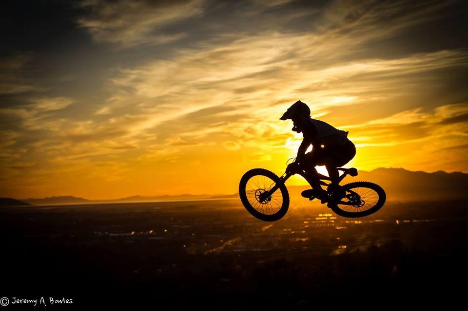 Mountain bike whip on public trail