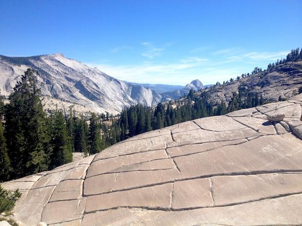 half dome, Yosemite, hiker, fall
