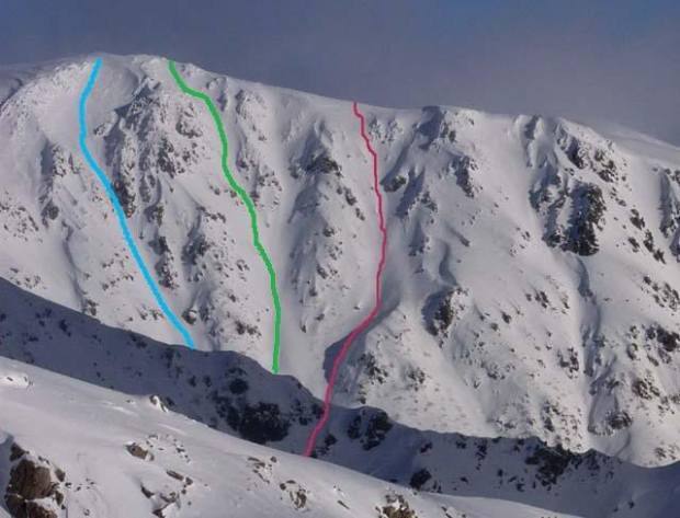 6,514-foot Mount Bogong, Australia with some descents marked.