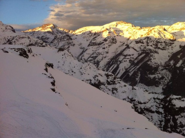 Snow in the flats, rock in the steeps.  Valle Nevado, August 13th, 2014