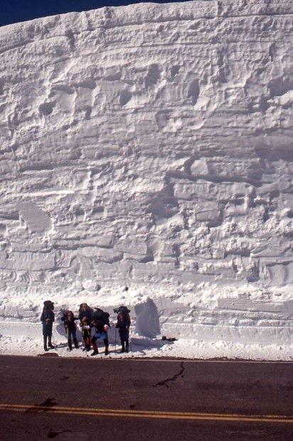Mt. Lassen, hippy telemarkers, and a ridiculous snowbank on June 1st, 1995.  photo:  Eric Knapp
