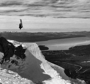 Pier Solomon getting high above lake Nahuel Huapi in Bariloche, Argentina.  photo:  Michelle Parker on Chris Coulter's phone/SGT