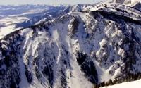 Granite Canyon, Jackson Hole.  Big terrain into a fierce terrain trap.  Scary avalanche terrain.